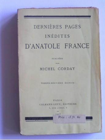 Anatole France - Dernières pages inédites